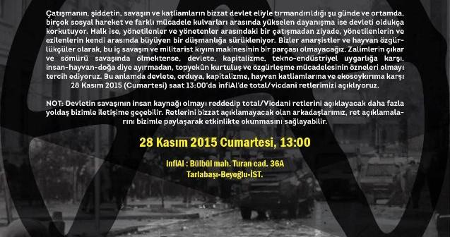 Hayvan özgürlükçüler & anarşistler vicdanî reddini açıklıyor (28 Kasım, 13.00, İnfiAl)