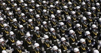 Turkish soldiers march during a parade marking the 93rd anniversary of Victory Day in Ankara